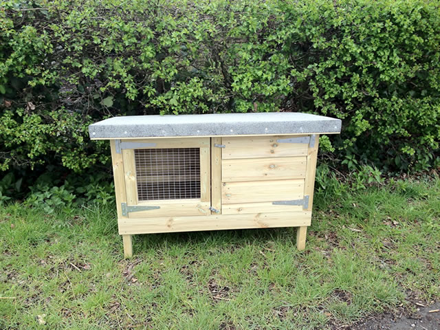 Photo of a custom made rabbit hutch.